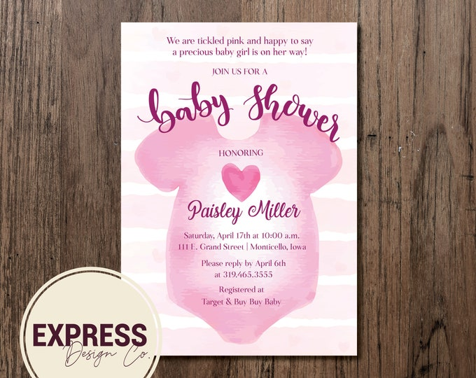 Tickled Pink Onesie Baby Shower Invitation