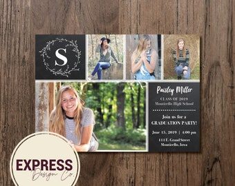 Photo Collage Graduation Party Invitation