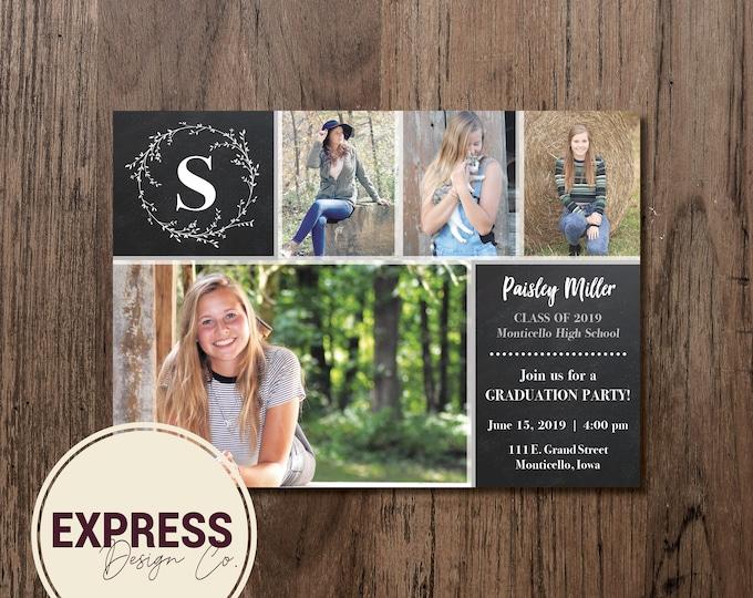 Photo Collage Graduation Party Invitation