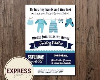 Tiny Hands and Tiny Feet Baby Boy Baby Shower Invitation