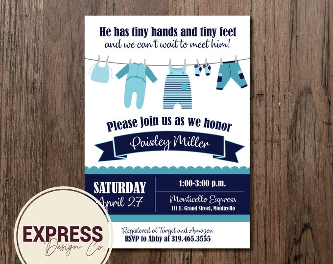 Tiny Hands and Tiny Feet Baby Boy Baby Shower Invitation