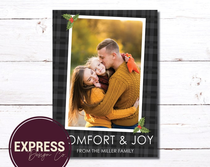 Photo Black Buffalo CheckComfort & Joy Holiday Christmas Card