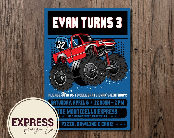 Blue & Red Monster Truck Birthday Party Celebration Invitation