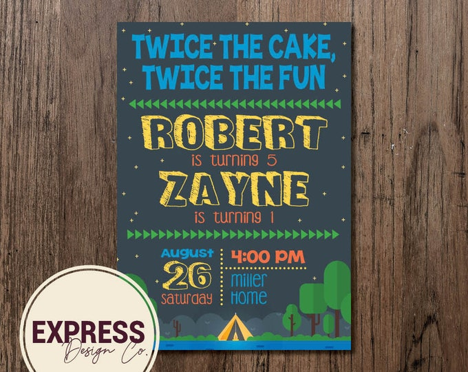 Nature Camping Twice the Cake, Twice the Fun Double Kids Birthday Party Invitation