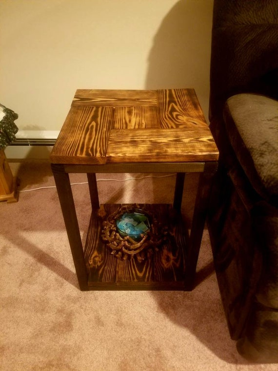 Rustic wooden end table. Rustic burned sofa table. Living room table.  Coffee table. Game room table. End table with bottom shelf. End table