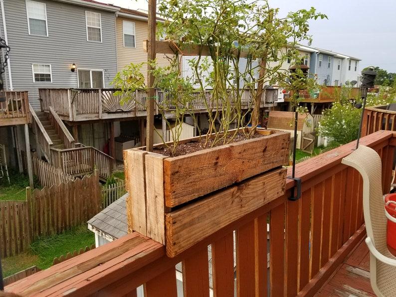 Deck Rail Planter Box Succulent Box Rustic Wooden Railing Planter Tomatoes Flowers Outdoor Garden Vegetables Railing Planter Box