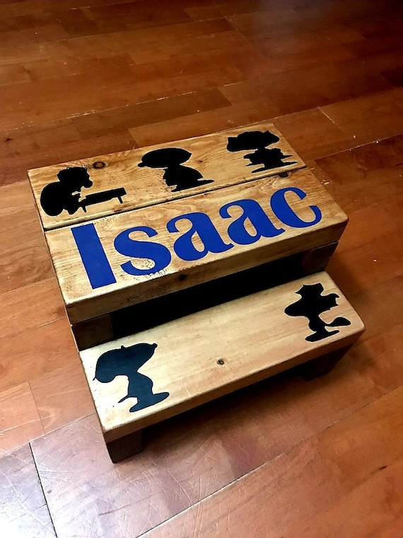 Fine Personalized Wooden Step Stool Charlie Brown Custom Toddler Step Stool Bathroom Step Stool Kitchen Step Stool Peanuts Snoopy Woodstock Gmtry Best Dining Table And Chair Ideas Images Gmtryco