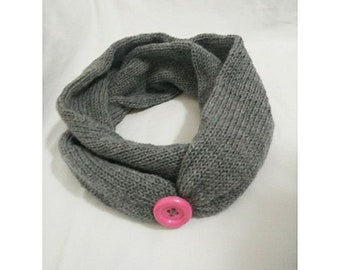 Generic knitted Handmade infinty Grey Scarf