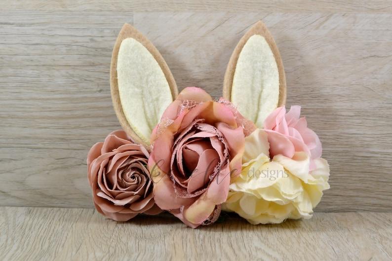 Bunny Flower Crown Bunny Ears Woodland Bunny Headband