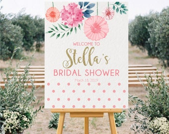 floral welcome sign bridal shower welcome sign couples shower welcome sign pink bridal shower welcome sign pink polka dot shower sign