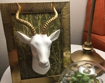 Framed White Ceramic Antelope with Gold Horns - Faux Taxidermy
