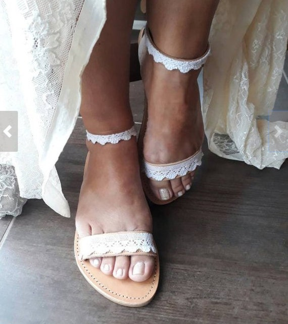 Handmade to order white lace sandalsbridal sandals wedding shoes wedding sandals white lace shoes beach sandals