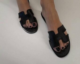 Leather Sandals,Black  Slides,Greek Leather Sandals,Summer Shoes,Black Leather Slides,Beach Flat Sandals