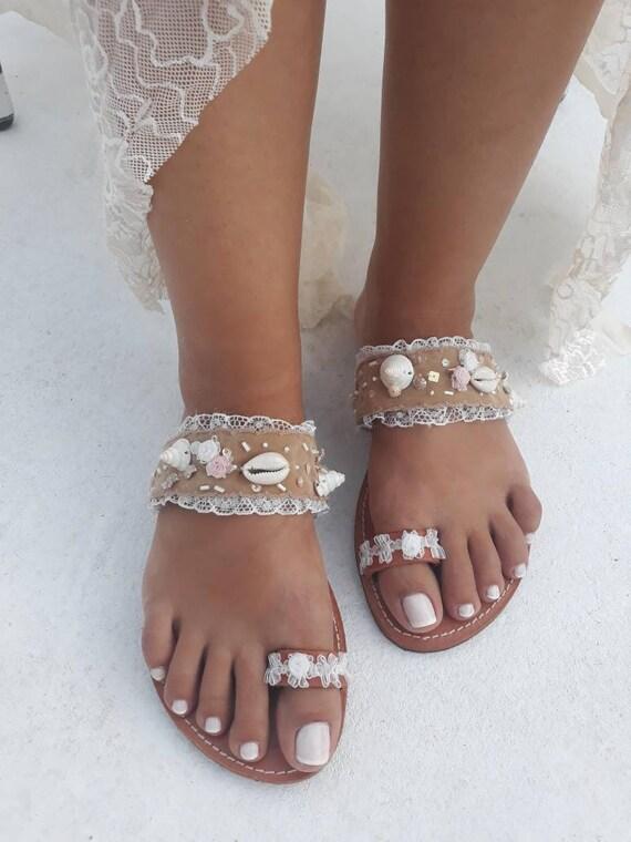 Bridal Leather Flat Sandals Sea Shell