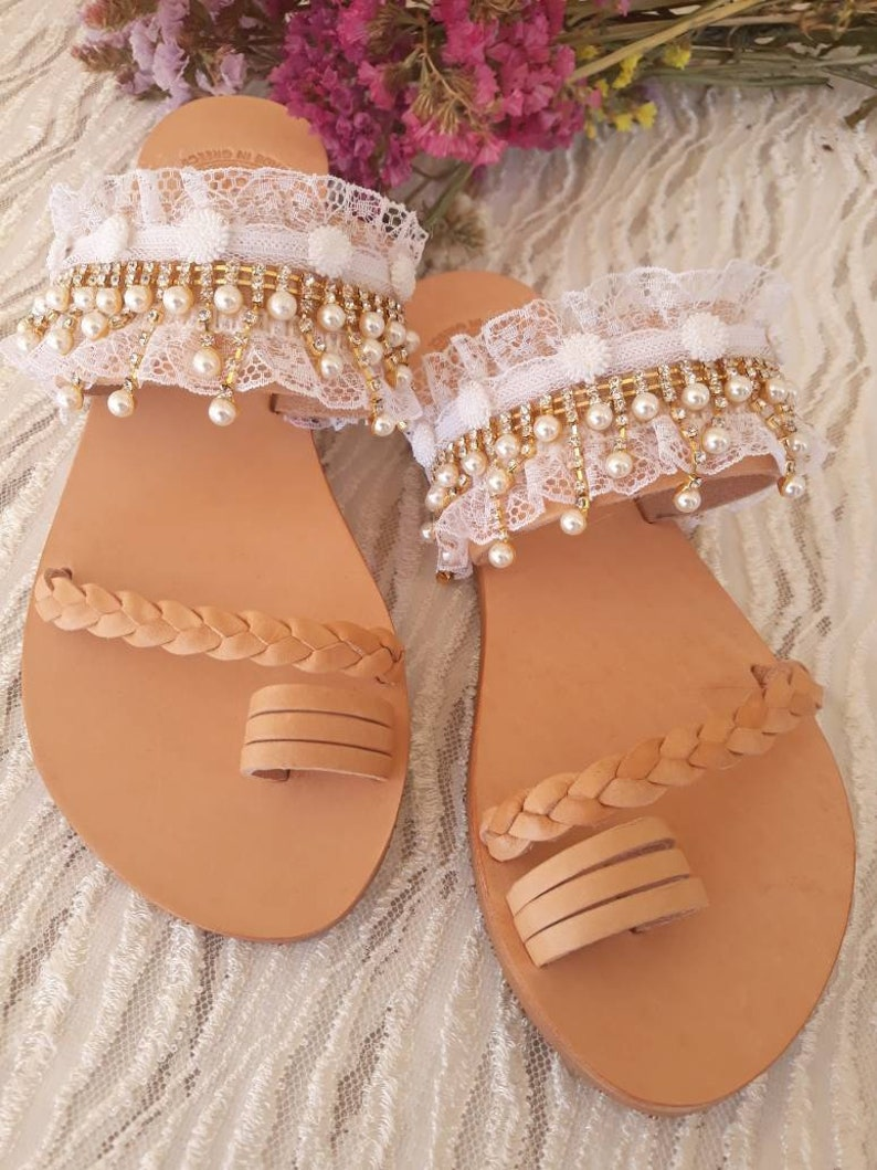 05626c03f0589 Bridesmaid leather shoes/ bridesmaid flat sandal/ wedding party shoes/ maid  of honor/ bridesmaid colors/wedding lace sandals/ beach wedding