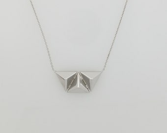 14K white gold three raised triangles necklace with adjustable chain 16-18 inches