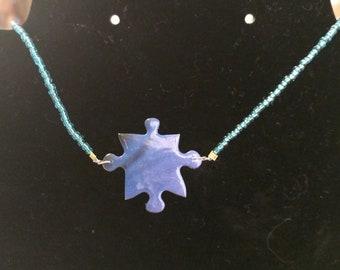 Blue Beaded Puzzle Piece Necklace