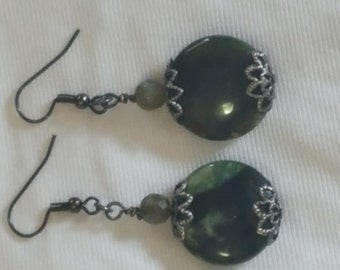 Antiques Silver and Green Peace of Malachite