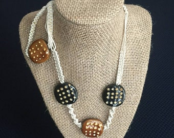 Soft fine cream twine and black and brown beads with matching bracelet