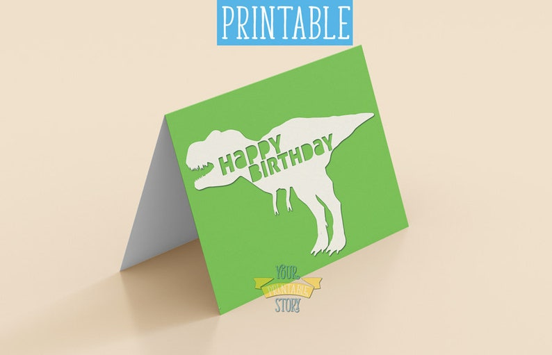 T Rex Birthday Party Dinosaur Printable Happy Card