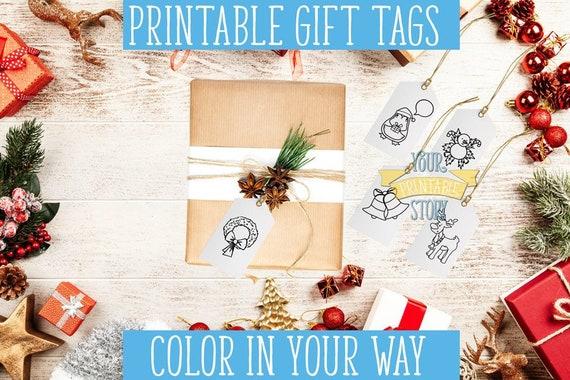 Christmas Coloring Gift Tag Printable Christmas Gift Tags Etsy
