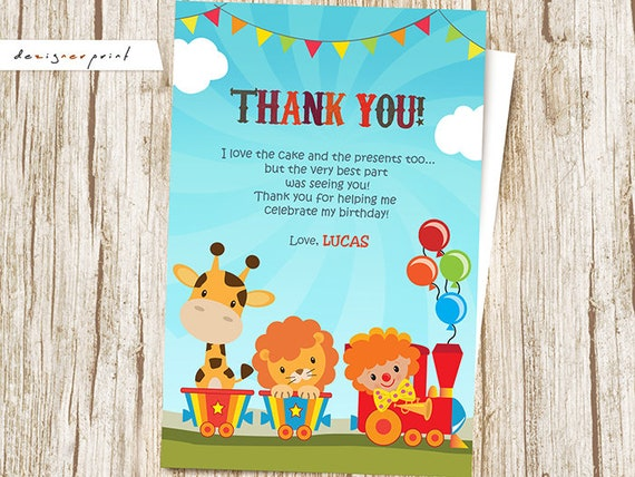 Carnival Thank You Card Carnival Birthday Card Thank You Etsy