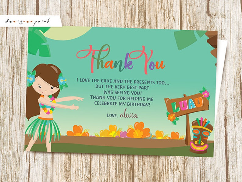 Luau Thank You Card - Hawaiian Birthday Card - Thank You Note - Aloha Thank  You Party Note - Floral Thank You Letter - Girl - Flowers