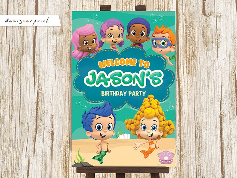 Bubble Guppies Welcome Sign Board - Bubble Guppy Birthday Welcome Poster -  Welcome Door Sign - Printable Welcome Party Sign - Digital Poster