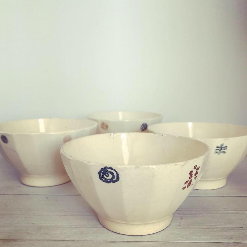Vintage French Hand Painted Cafe Au Lait Bowls, Antique Kitchen Decor,  Farmhouse Style