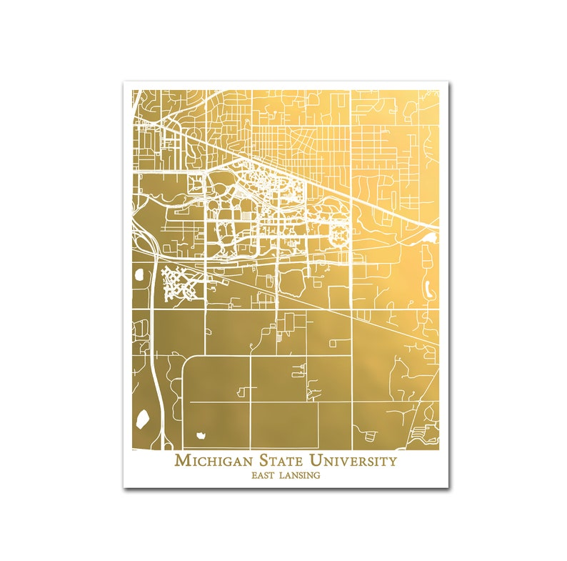 image relating to University of Arizona Campus Map Printable titled Dorm Decor, Michigan Region College Campus Map, Map of MSU East Lansing.Gold Foil Map Print, Dorm Artwork, School Level of popularity Reward, MSU Sparty