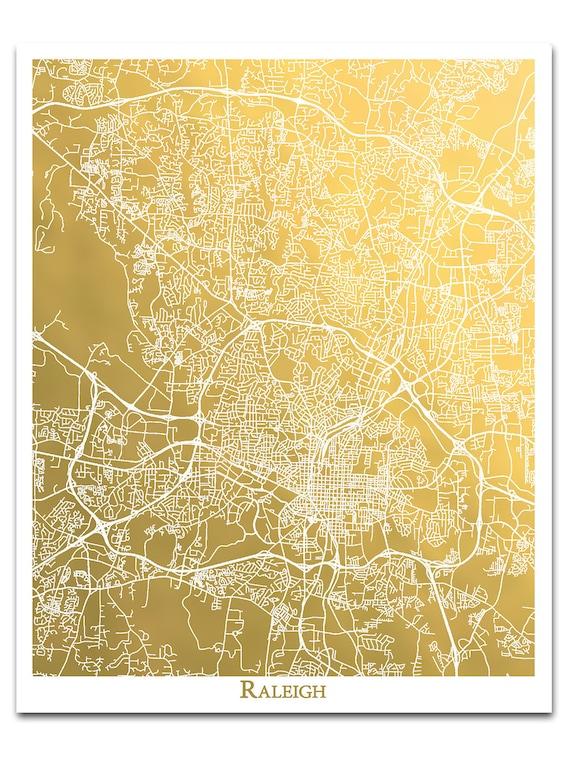 City Art, Raleigh, NC Map Gold Foil Print