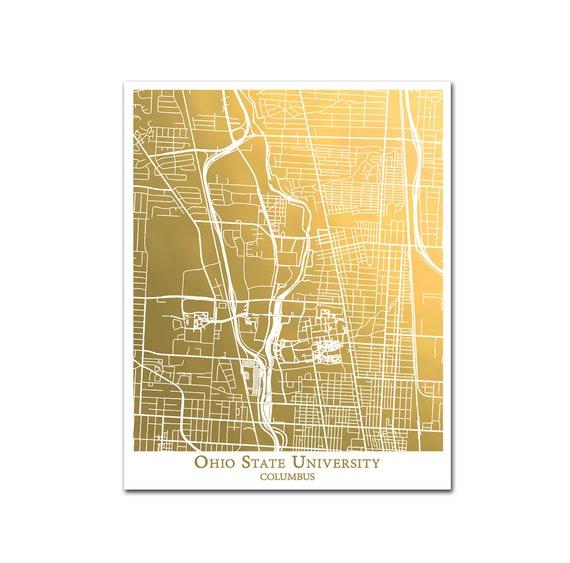 Ohio State University Campus Map Map Of Osu Columbus Gold Etsy