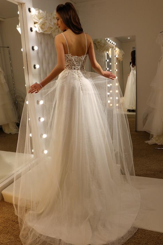 Deep Plunge Wedding Dress, Lace Corset Wedding Dress, Vivian Wedding Dress,  Fairy Wedding Gown, Backless Wedding Dress, Bridle Gown