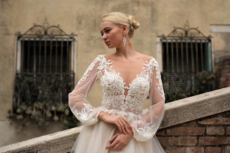 Champagne Wedding Dress, Long Sleeve Wedding Dress, Long Train Wedding Dress, Lace Wedding Dress, Unique Wedding Dress, Boho Wedding Dress, Vastoliya Bride, Etsy