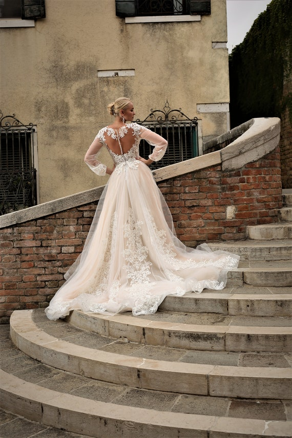 Champagne Wedding Dress, Long Sleeve Wedding Dress, Long Train Wedding Dress, Lace Wedding Dress, Unique Wedding Dress, Boho Wedding Dress