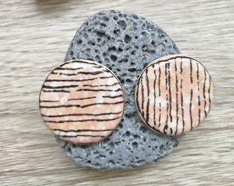 Small Circle Bright Blush Handmade Ceramic Cabochons- DAMYANAH STUDIO