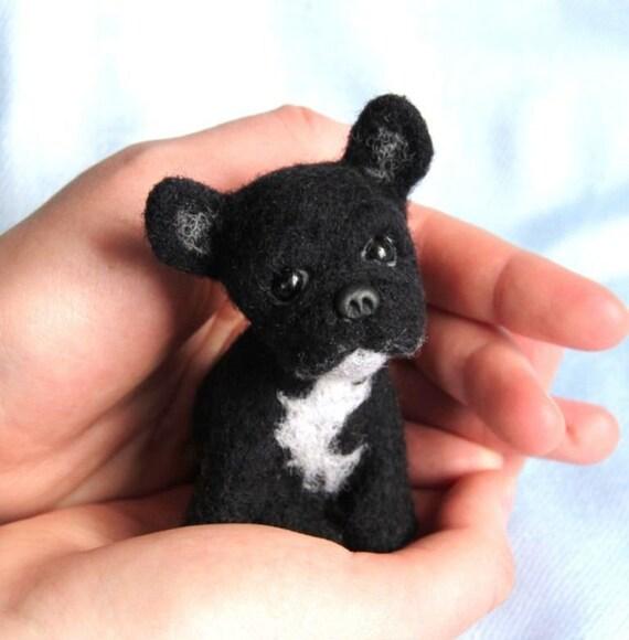 Custom pet portrait needle felted french bulldog toy miniature bulldog art bulldog small toy bulldog Dog gift real dog replica pet loss