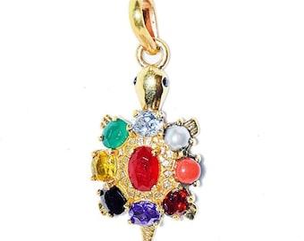 Healing pendant with auspicious red thread Navratna  Nine stone  Planetary Ganesha pendant