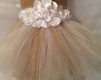 pet wedding tutu with ribbon flowers - glitter tull perfect for cat and dogs