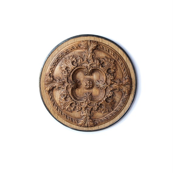 Vintage Antique Wood Wall Art Round, Round Wood Carved Wall Decor