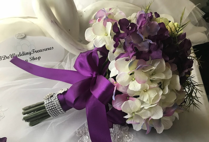 Purple Hydrangea Wedding Bouquet Silk Flower Bouquet Bridal Etsy