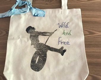 Canvas silhouette/ hand embroidered tote