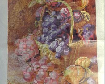 Pink grapes. Glass beads schema on satin kit 19x26 cm.