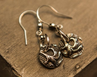 Silver damask and gemstone earrings