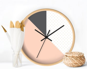 Wall Clock, Geometric Peach and Grey Clock, Home decor Clock, Wall Clock Design, Contemporary Wall Clock, Minimalist Design
