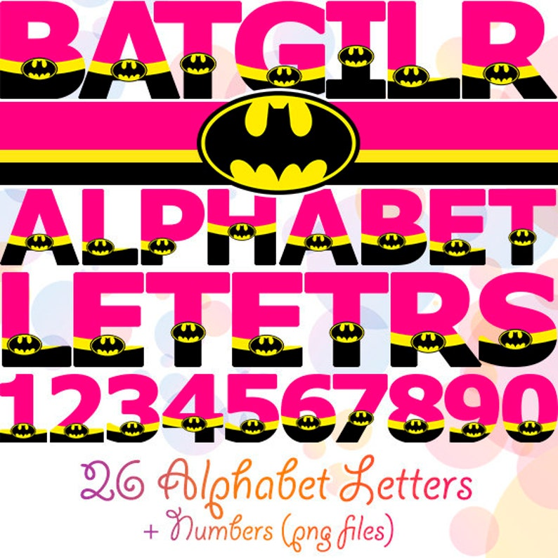 Batgirl Pink Alphabet Birthday Party Decorations Banner Digital Numbers Letters Printable Superhero Girl Clipart Batman Paper Decor Art Bday