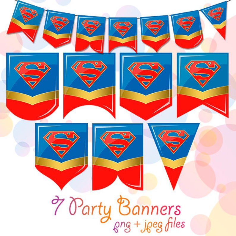 Supergirl Birthday Party Decorations Supplies Clipart PNG