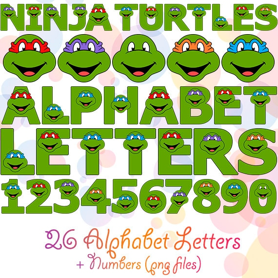 Printable Mutant Ninja Turtles Alphabet 41 Png Letters And Etsy