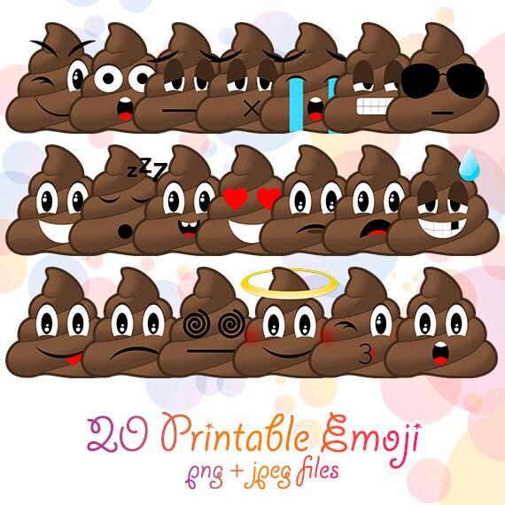 20 Png Jpg Poop Emoji Clipart Printable Poo Smiley Faces Birthday Party Supplies Digital Poop Smiling Emoticon Kawaii Emoji Faces Design