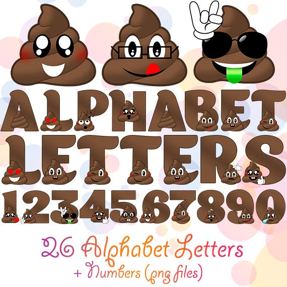 PNG Digital Poop Alphabet 36 Letters And Numbers Wall
